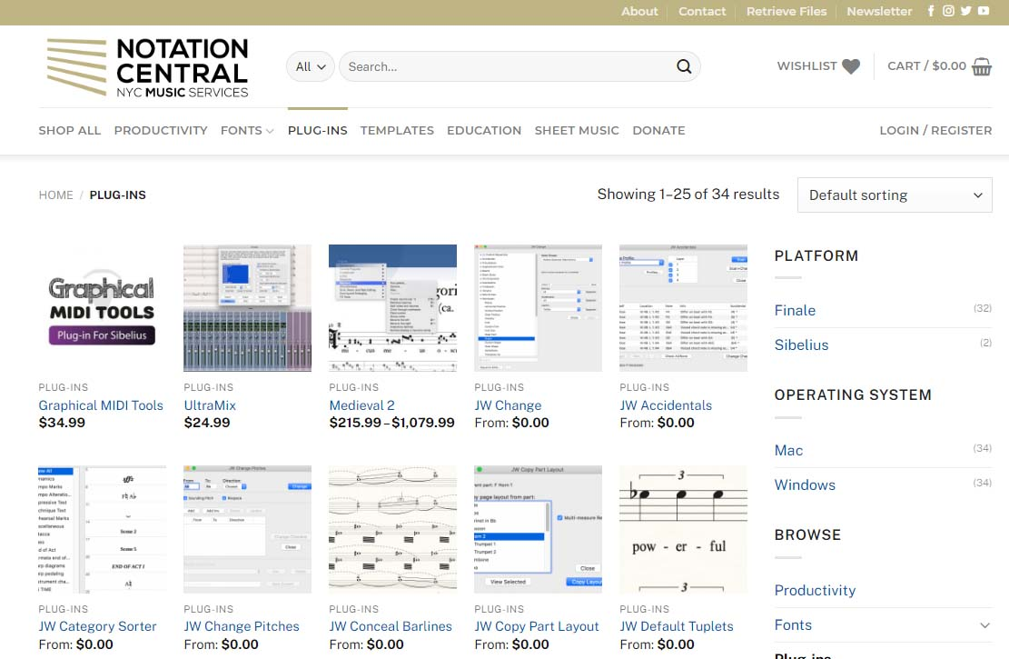 The Plugins section at NotationCentral.com